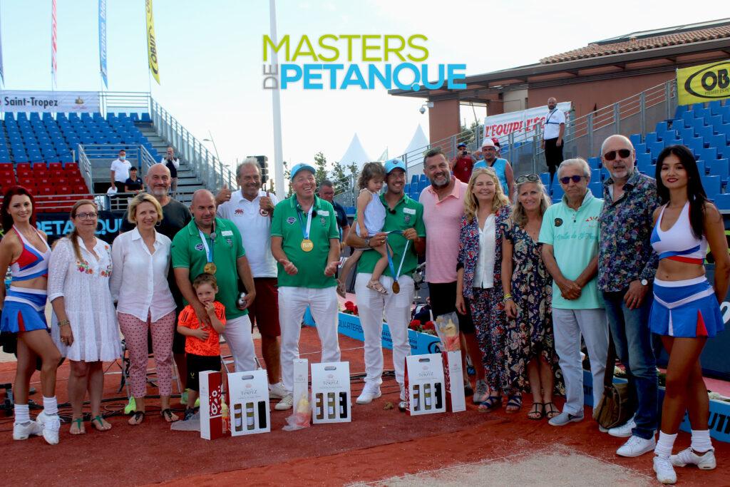 Vainqueur Masters de Pétanque Saint-Tropez ; Dylan Rocher, Philippe Suchaud, Stéphane Robineau.